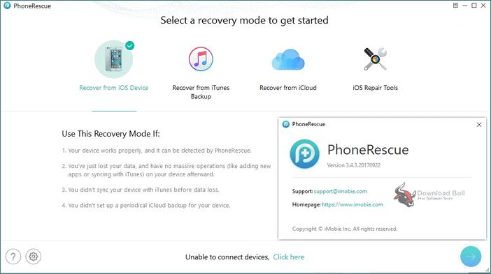 iMobie rescue iPhone data main screen