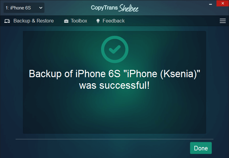cts backup to external drive is complete