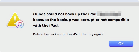 itunes backup corrupt or not compatible