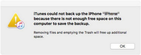 itunes cannot backup iphone because not enough free space on computer